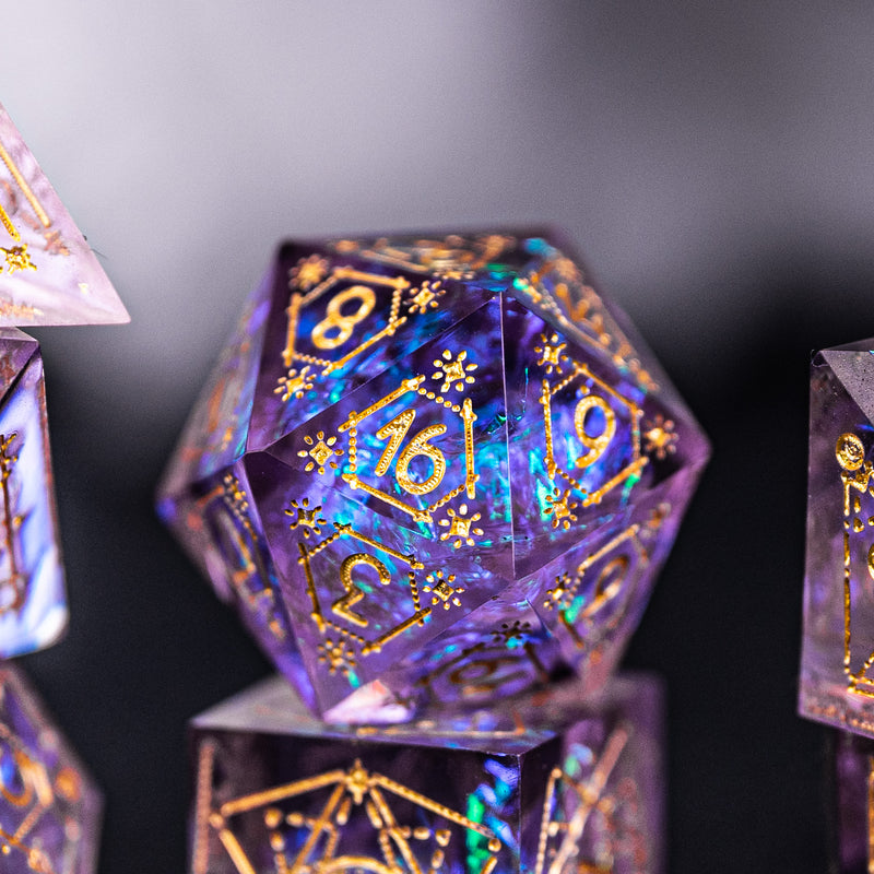 URWizards Dnd Resin Purple Glitter Engraved Dice Set Astrology Style - Urwizards