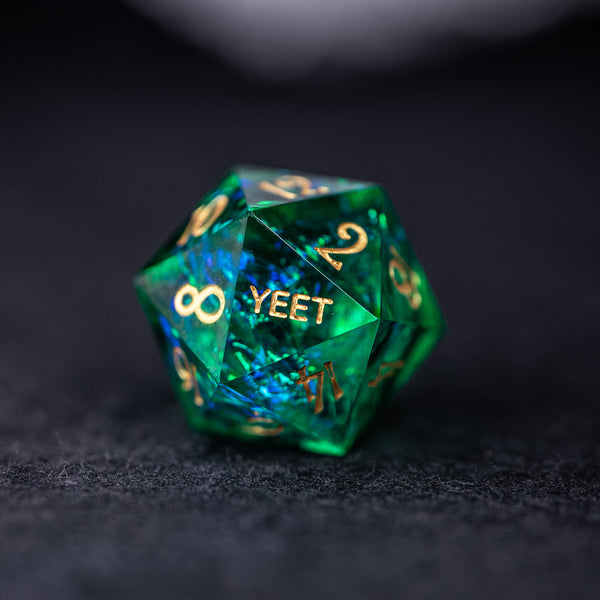 URWizards Dnd Resin Green Glitter Engraved Dice Set YEET & F*CK - Urwizards