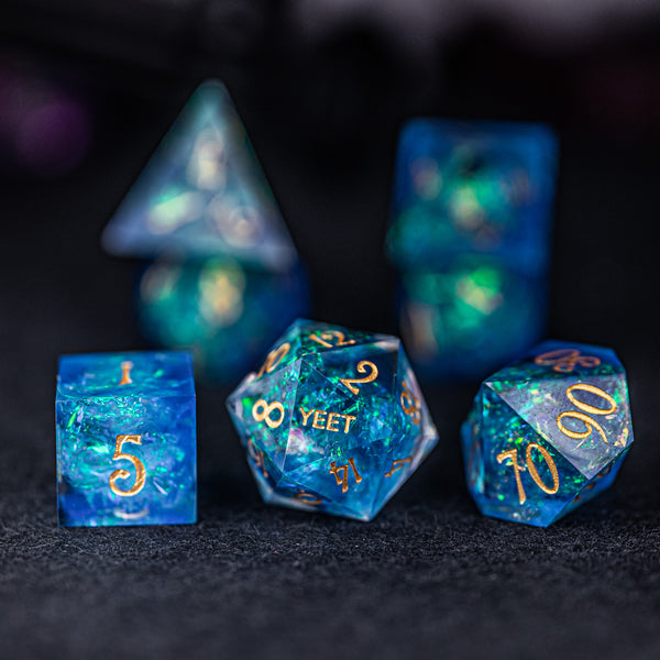URWizards Dnd Resin Blue Glitter Engraved Dice Set YEET & F*CK - Urwizards
