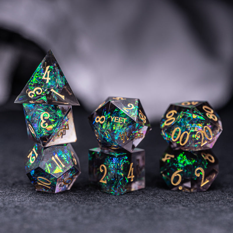 URWizards Dnd Resin Dark Glitter Engraved Dice Set YEET & F*CK - Urwizards