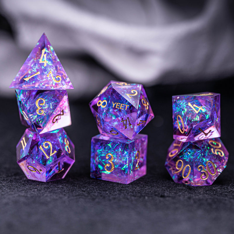 URWizards Dnd Resin Purple Glitter Engraved Dice Set YEET & F*CK - Urwizards