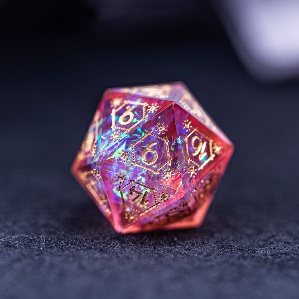 URWizards Dnd Resin Pink Glitter Engraved Dice Set Astrology Style - Urwizards