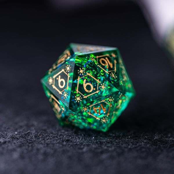 URWizards Dnd Resin Green Glitter Engraved Dice Set Astrology Style - Urwizards