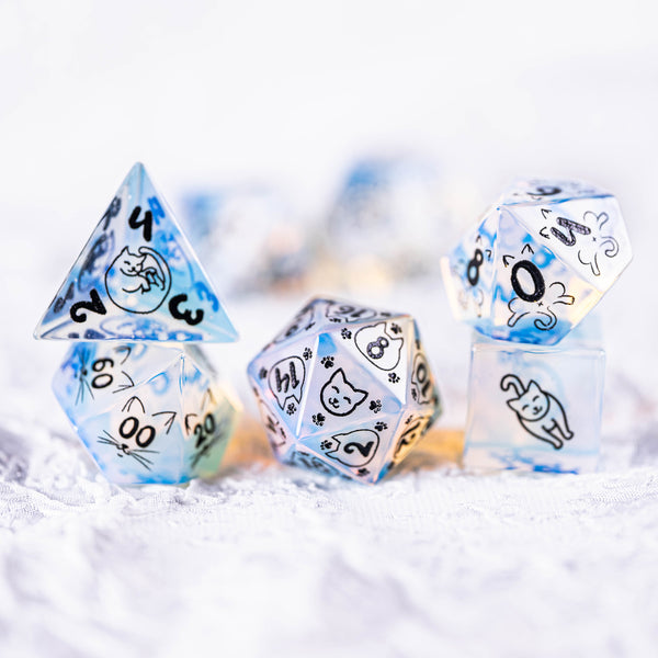URWizards Dnd Engraved Opalite Cat's Eye Dice Set Meow Style - Urwizards