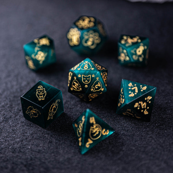 URWizards Dnd Engraved Teal Green Cat's Eye Dice Set Meow Style - Urwizards