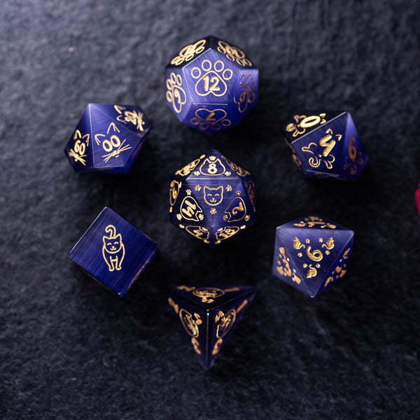 URWizards Dnd Engraved Purple Cat's Eye Dice Set Meow Style - Urwizards