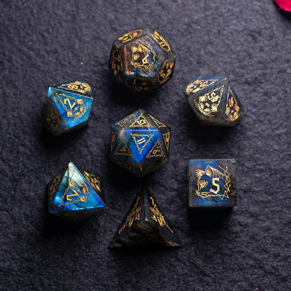 URWizards Dnd Engraved Labradorite Stone Dice Set Cat Style - Urwizards