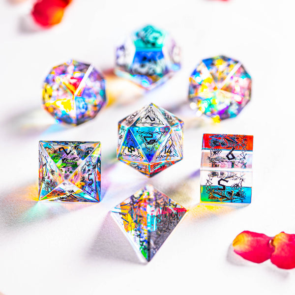 URWizards Dnd Engraved Dichroic Prism Glass Dice Set Cat Style - Urwizards