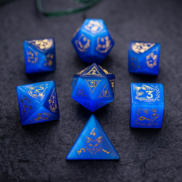 URWizards Dnd Engraved Blue Cat's Eye Stone Dice Set Cat Style - Urwizards