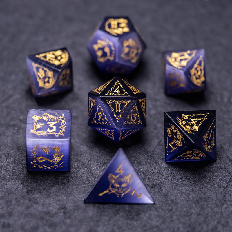 URWizards Dnd Engraved Purple Cat's Eye Stone Dice Set Cat Style - Urwizards