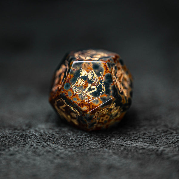 URWizards Dnd Engraved Indian Agate Dice Set Cat Style - Urwizards