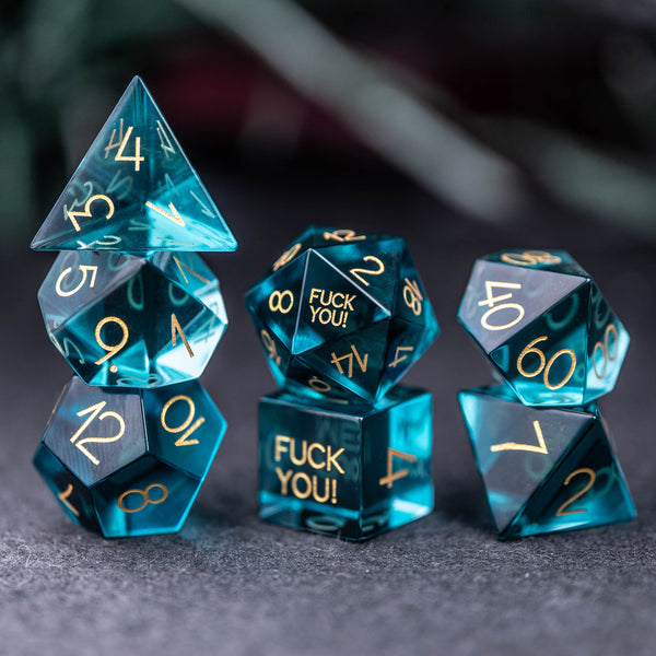 URWizards Dnd Blue Glass Engraved Dice Set F*CK Style - Urwizards