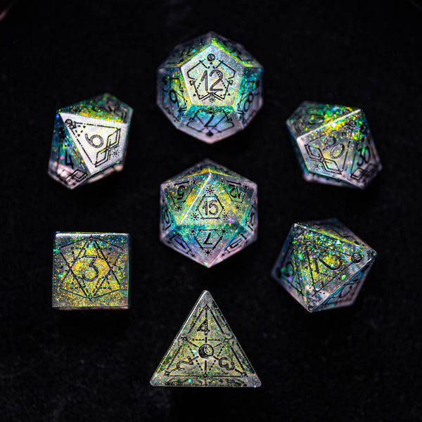 URWizards Dnd Resin Aurora Glitter Engraved Dice Set Astrology Style - Urwizards
