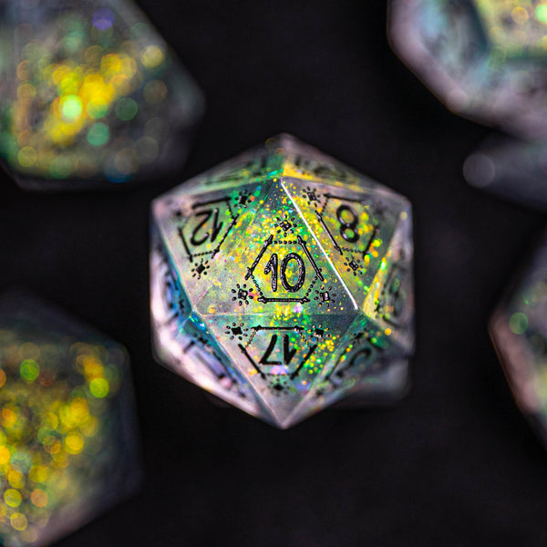 URWizards Dnd Engraved Handmade Resin Aurora Glitter D20 Dice Astrology Style - Urwizards
