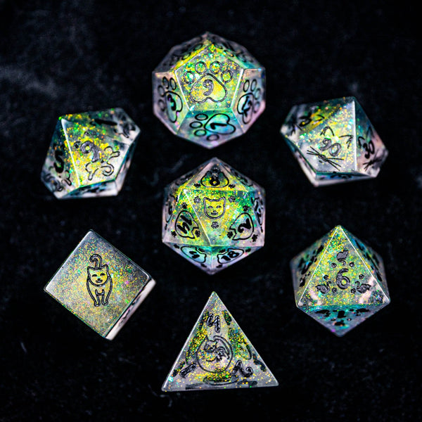 URWizards Dnd Resin Aurora Glitter Engraved Dice Set Meow Style - Urwizards
