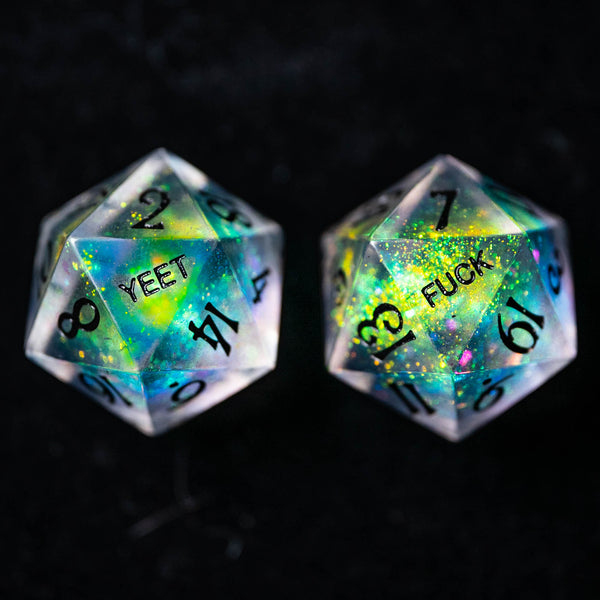 URWizards Dnd Resin Aurora Glitter Engraved Dice Set YEET & F*CK - Urwizards