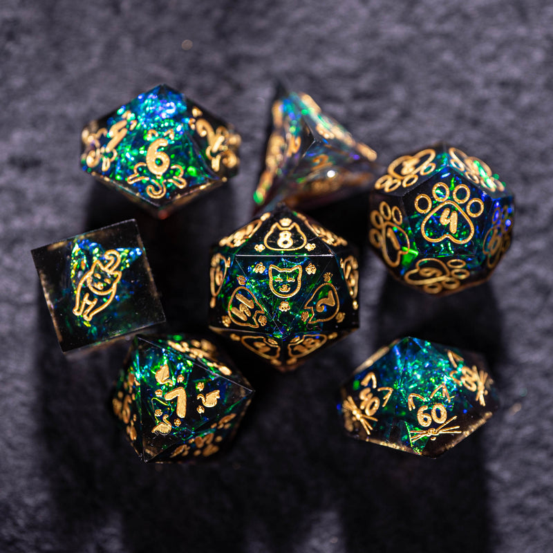 URWizards Dnd Resin Dark Glitter Engraved Dice Set Meow Style - Urwizards