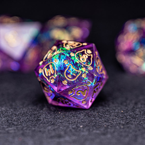 URWizards Dnd Resin Purple Glitter Engraved Dice Set Meow Style - Urwizards