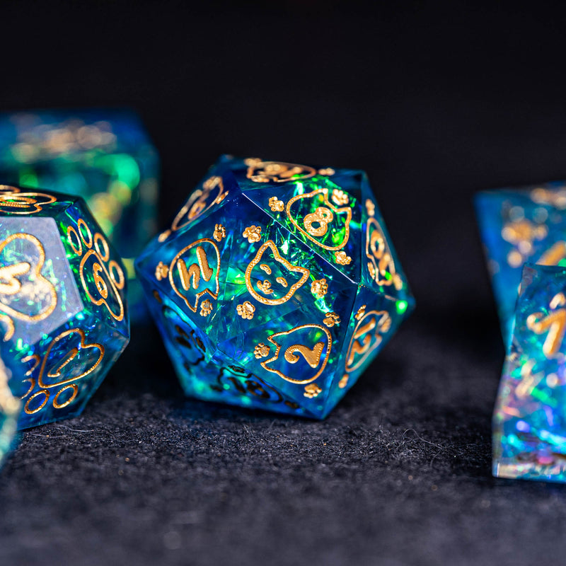 URWizards Dnd Resin Blue Glitter Engraved Dice Set Meow Style - Urwizards