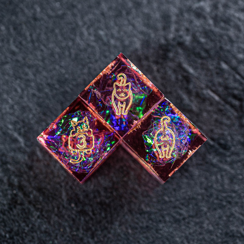 URWizards Dnd Resin Pink Glitter Engraved Dice Set Meow Style - Urwizards