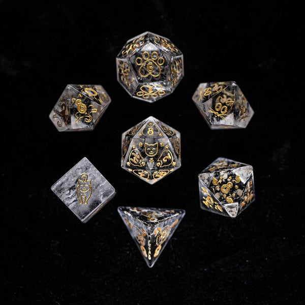 URWizards Dnd Engraved Transparent Clear Quartz Dice Set Meow Style - Urwizards