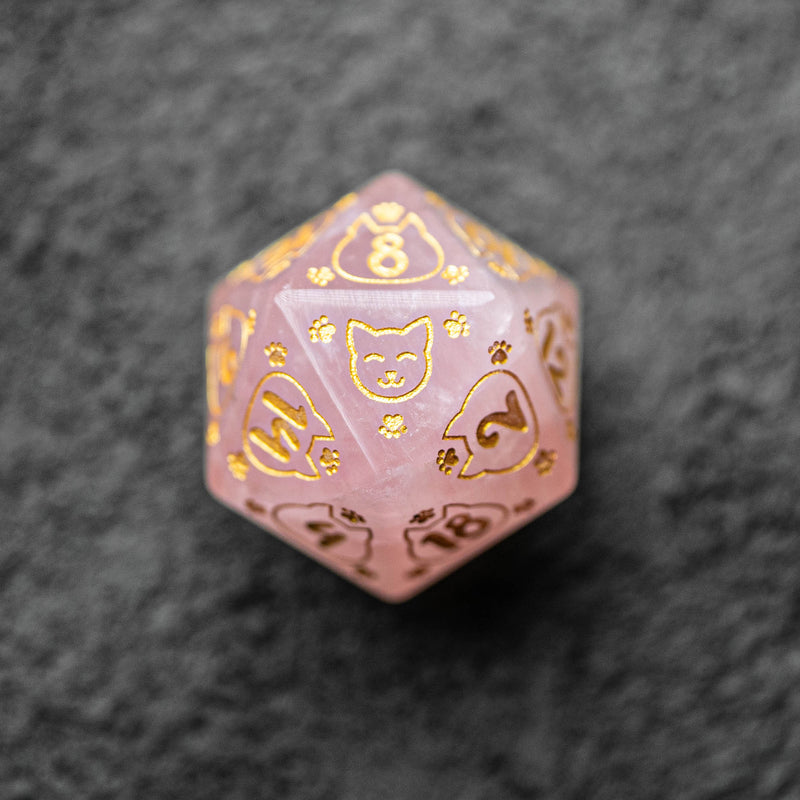 URWizards Dnd Engraved Rose Quartz Dice Set Meow Style - Urwizards