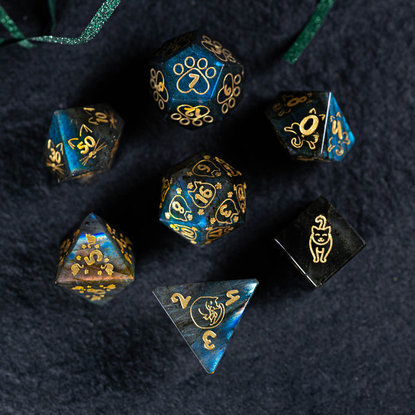 URWizards Dnd Engraved Labradorite Dice Set Meow Style - Urwizards