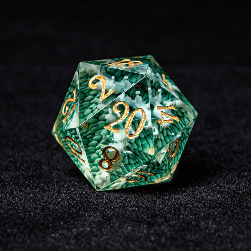 URWizards Dnd Resin Green Coral Engraved Dice Set Gold Inked - Urwizards