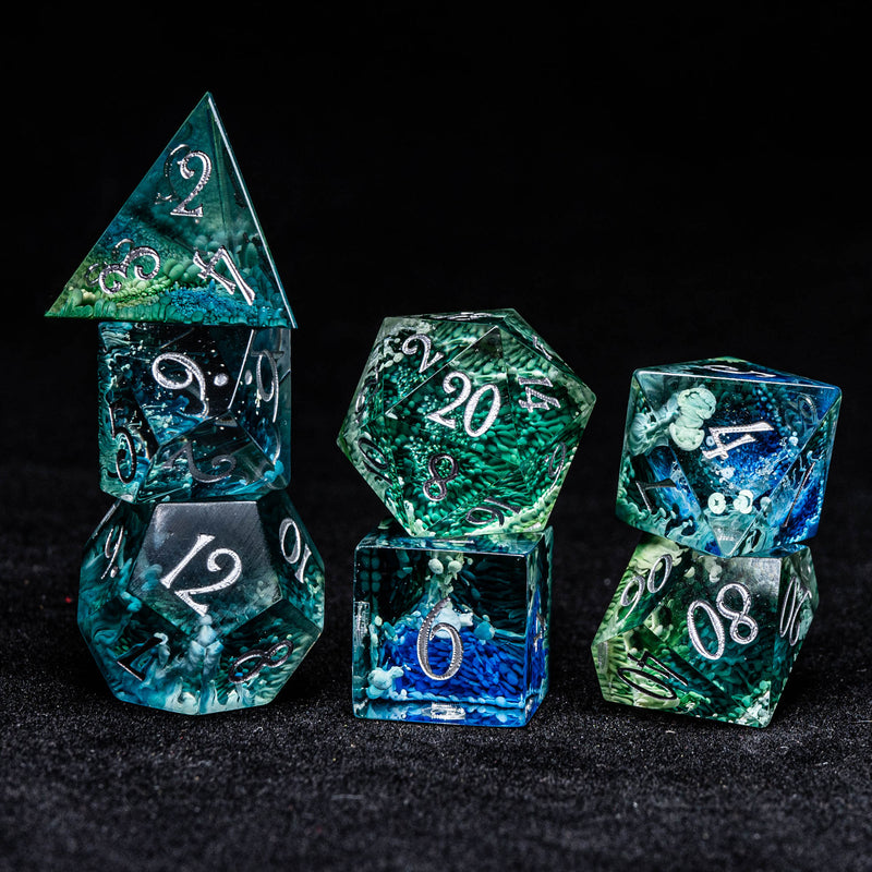 URWizards Dnd Resin Green Coral Engraved Dice Set Silver Inked - Urwizards