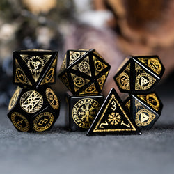 URWizards Dnd Engraved Obsidian Dice Set Nordic Style - Urwizards