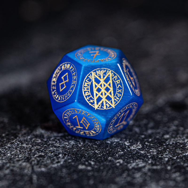 URWizards Dnd Engraved Blue Cat's Eye Stone Dice Set Nordic Style - Urwizards