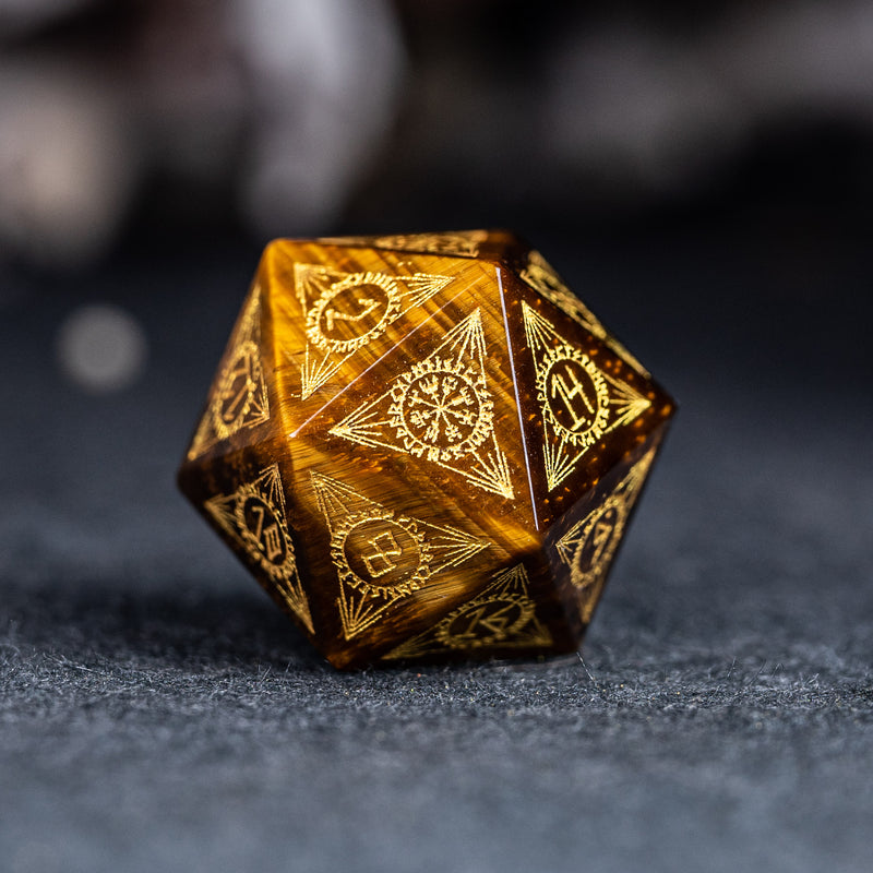 URWizards Dnd Engraved Yellow Tiger's Eyes Dice Set Nordic Style - Urwizards
