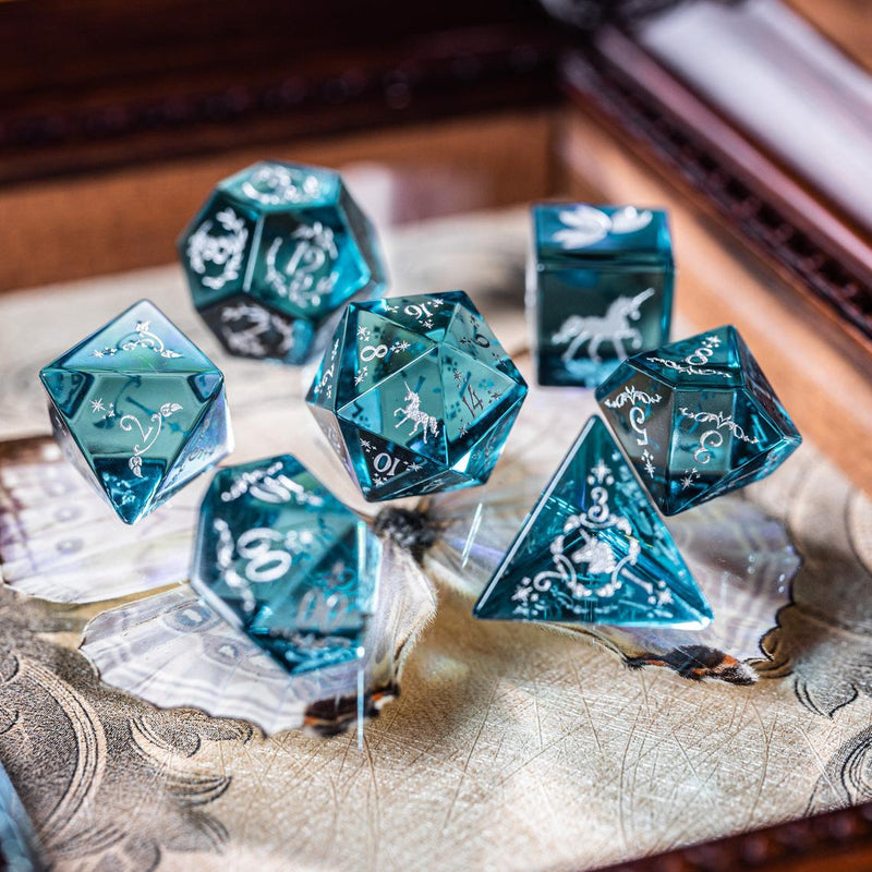 URWizards Dnd Blue Tourmaline Zircon Engraved Dice Set Unicorn Style - Urwizards