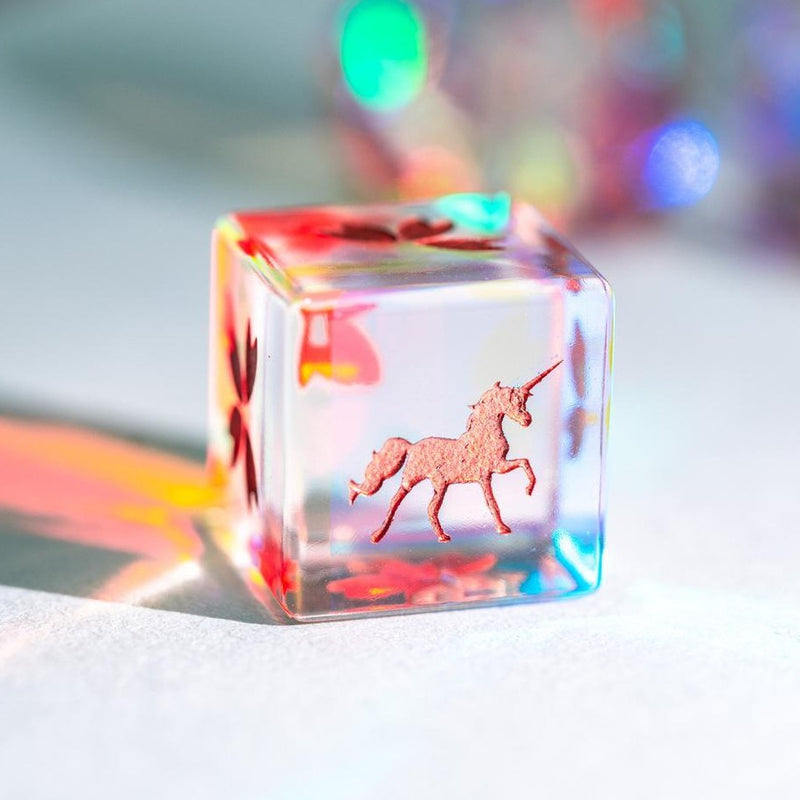 URWizards Dnd Engraved Dichroic Prism  Glass D6 Dice Unicorn Rose Red - Urwizards