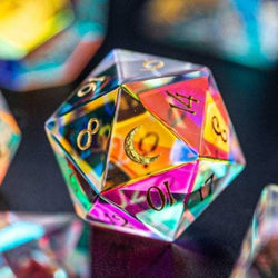URWizards Dnd Engraved Dichroic Prism  Glass D20 Dice Cresent Moon - Urwizards