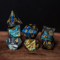 URWizards Dnd Labradorite Engraved Dice Set Moon Star Style - Urwizards