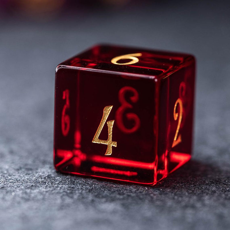 URWizards Dnd Garnet Glass Engraved Dice Set Moon - Urwizards