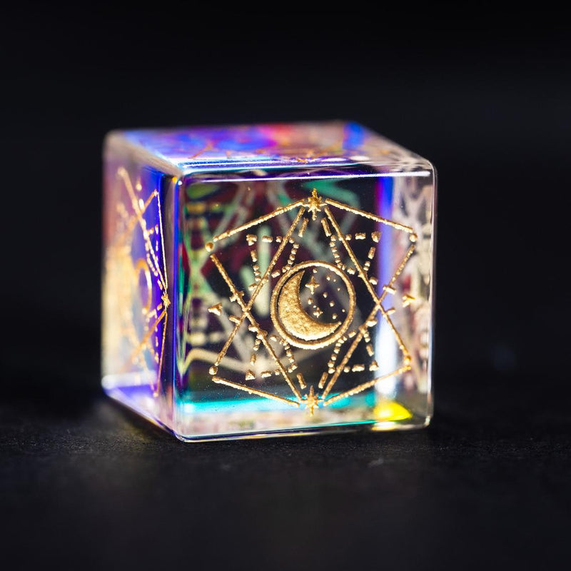 URWizards Dnd Dichroic Glass Engraved Dice Set Astrology Gold Inked - Urwizards