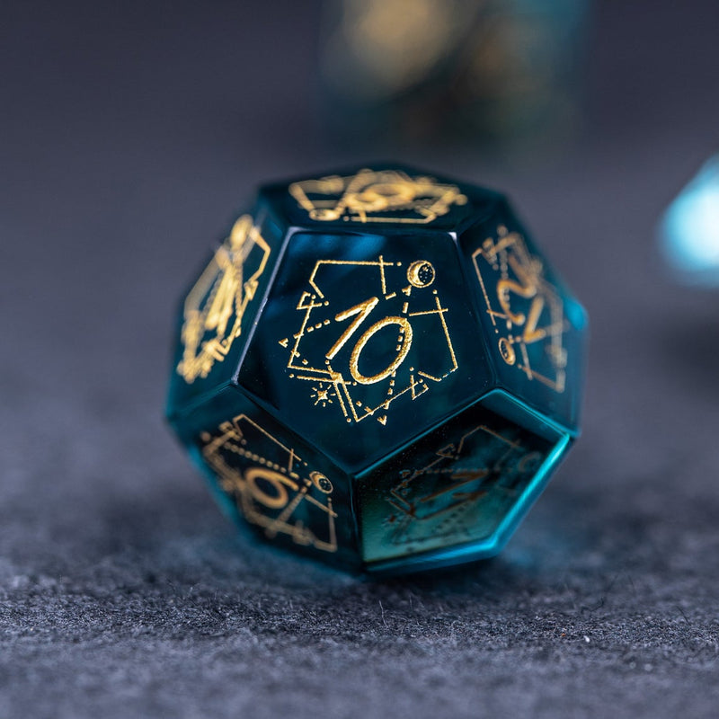 URWizards Dnd Blue Glass Engraved Dice Set Astrology Style - Urwizards