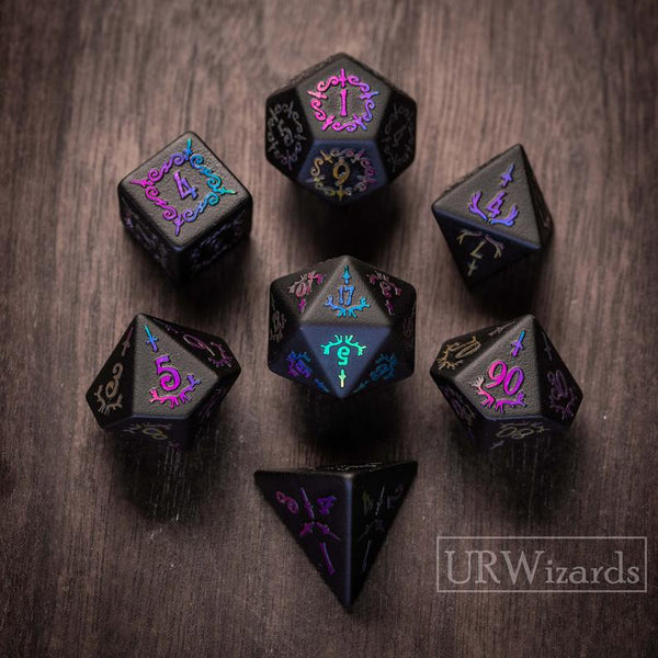 URWizards Obsidian Raised Plating Number Dice Set Dagger Style - Urwizards