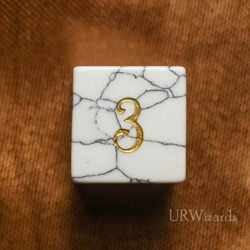 URWizards Dnd White Howlite Gemstone Engraved Dice Set - Urwizards