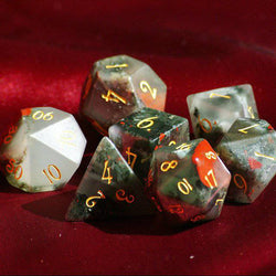 URWizards Dnd Bloodstone Gemstone Engraved Dice Set - Urwizards