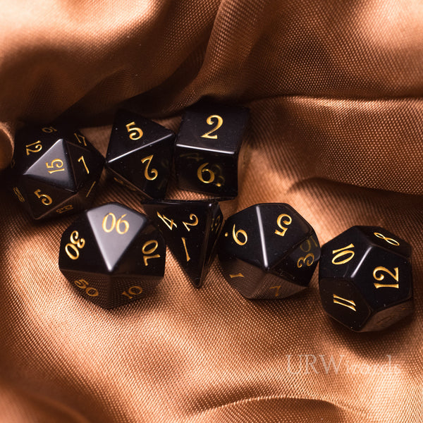 URWizards Dnd Obsidian Gemstone Engraved Dice Set - Urwizards