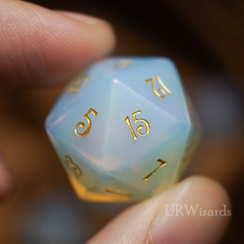 URWizards Dnd Opalite Gemstone Engraved Dice Set - Urwizards
