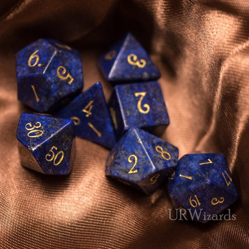 URWizards Dnd Lapis Lazuli Gemstone Engraved Dice Set - Urwizards