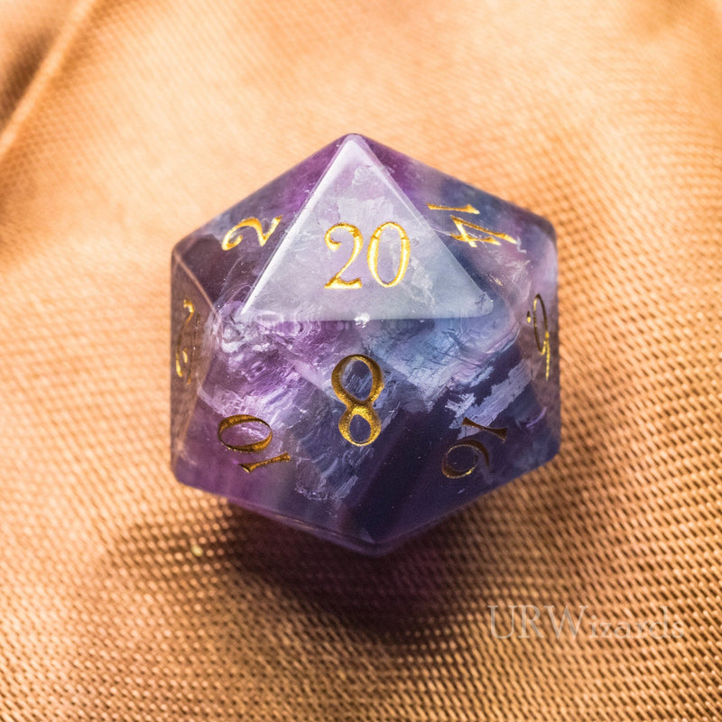 URWizards D20 Engraved Purple Fluorite Gemstone D20 Dice - Dungeons and Dragons D20, RPG Game DND - Urwizards