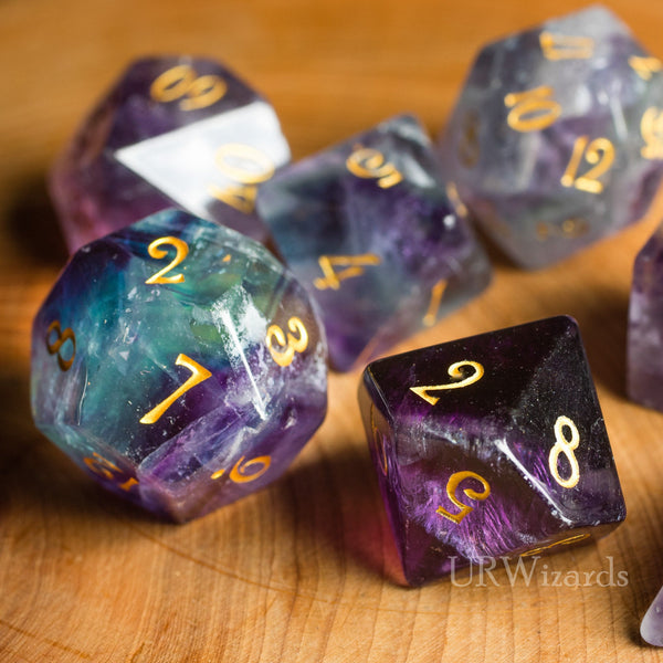 URWizards Dnd Purple Fluorite Gemstone Engraved Dice Set - Urwizards