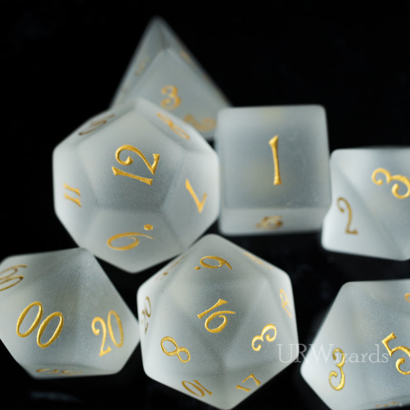URWizards Dnd Frost Quartz Gemstone Engraved Dice Set - Urwizards