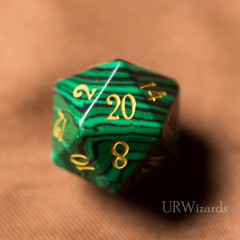 URWizards Dnd Malachite Gemstone Engraved Dice Set - Urwizards