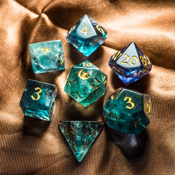 URWizards Dnd Green Fluorite Gemstone Engraved Dice Set Dragon Style - Urwizards